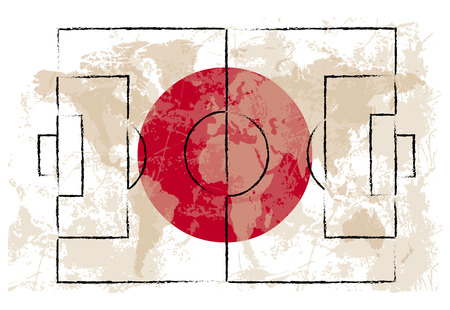 kick out: football court on Japan flag background vector illustration
