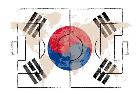 offside: football court on South Korea flag background vector illustration