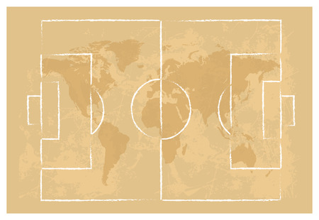 football court on map of the world background vector illustration