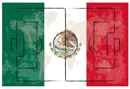 bandera mexico: pista de futbol en Mexico bandera de ilustraci�n de fondo vector