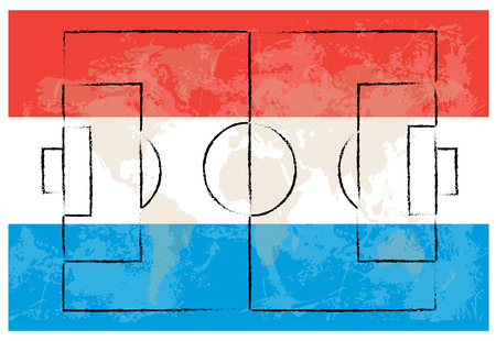kick out: football court on Netherlands flag background vector illustration