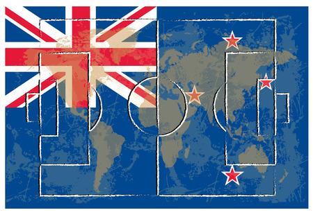 new zealand flag: campo da calcio in Nuova Zelanda bandiera sfondo illustrazione vettoriale Vettoriali