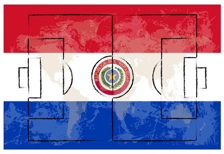 bandera de paraguay: cancha de f�tbol en Paraguay bandera de ilustraci�n de fondo vector