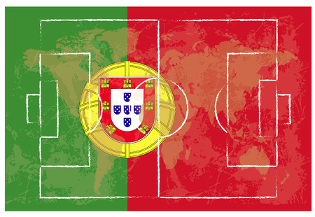 kick out: football court on Portugal flag background vector illustration
