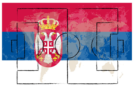 serbia flag: football court on serbia flag background vector illustration