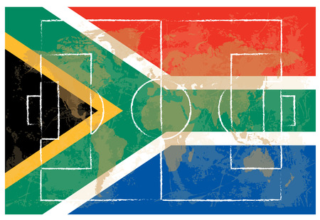 lay out: football court on South Africa flag background vector illustration