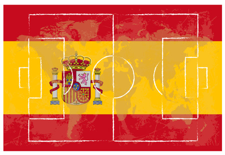 lay out: football court on Spain flag background vector illustration