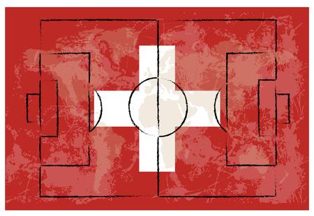 zwitserland vlag: voetbalveld op zwitserland, vlag, achtergrond, Vector, illustratie