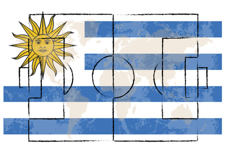 kick out: football court on uruguay flag background vector illustration