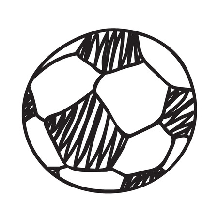 ball pen: Hand draw football ball isolated illustration on white background
