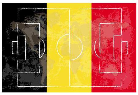 corner kick: football court on Belgium flag background vector illustration