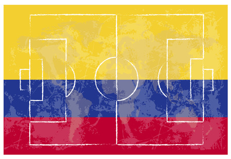 football court on Colombia flag background vector illustration Vector Illustration