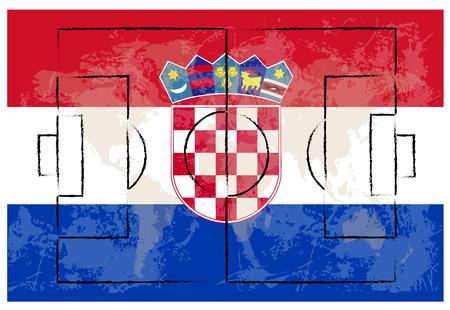 bandiera croazia: campo da calcio sulla bandiera croazia illustrazione vettoriale