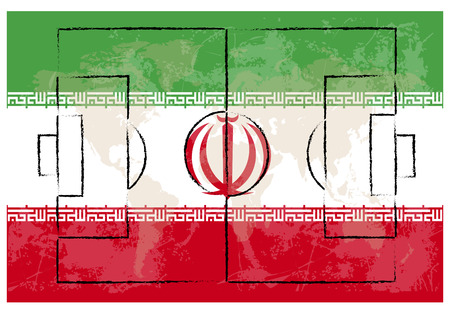 offside: football court on Iran flag background vector illustration