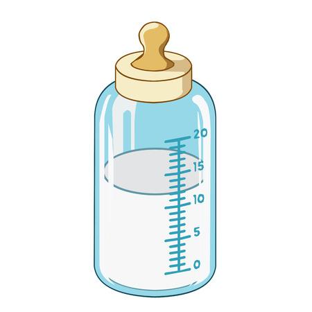 흰색 배경에 아기 우유 병 고립 된 그림