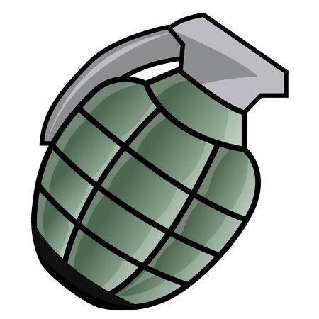 shrapnel: Hand grenade isolated illustration on white background Illustration