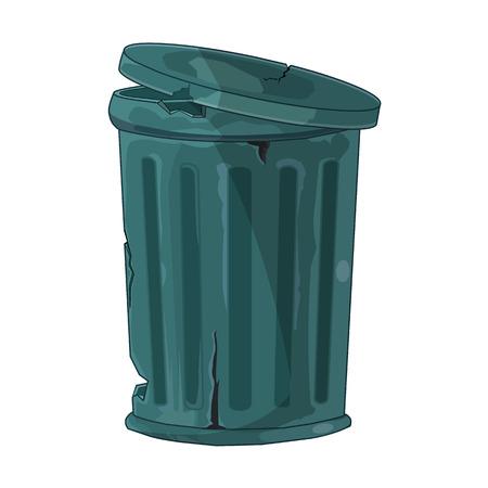 wastebasket: Trash Can isolated illustration on white background