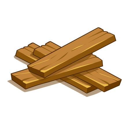 wood planks isolated illustration on white background