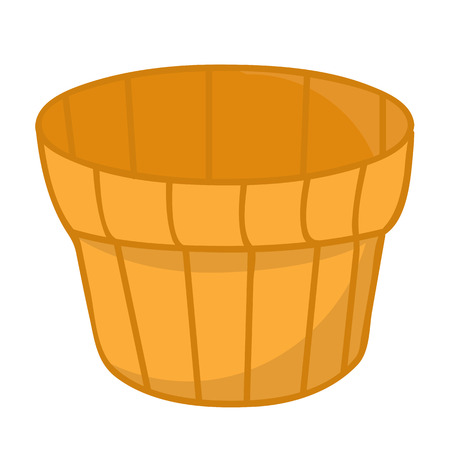 cartoon wood bucket: wood bucket isolated illustration on white background