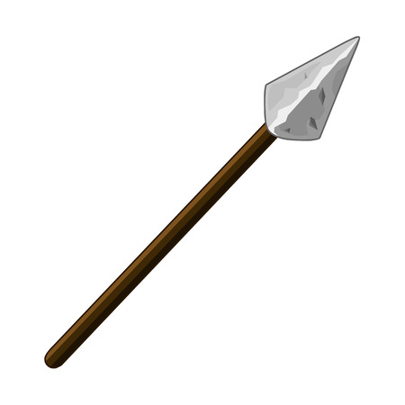 primitive tools: spear isolated illustration on white background