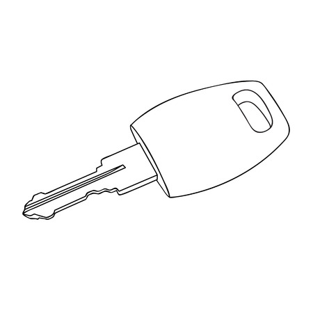 dwell: Sketch line drawing of keys isolated illustration on white background