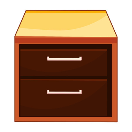 one bedroom: Wooden bedside table isolated illustration on white background Illustration