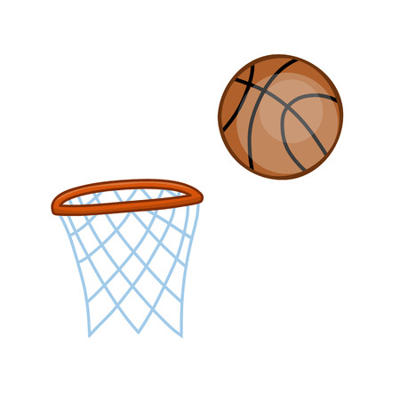 rival: basketball hoop and ball isolated illustration on white background