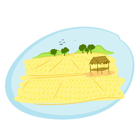 hand drawn thai rice field rural landscape Vector