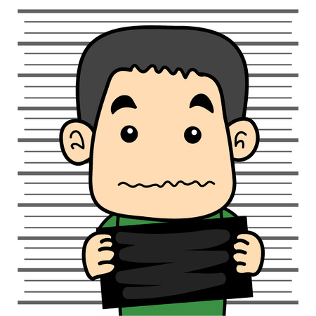 mugshot: male prisoner mugshot background Illustration