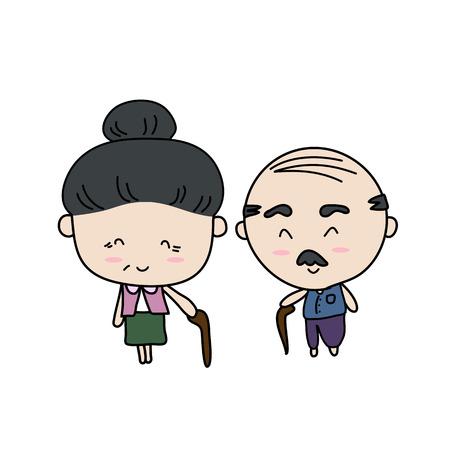 Elderly couple of lover Vector illustration 일러스트