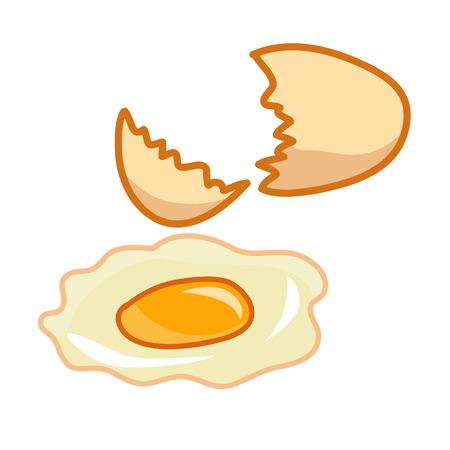 uovo rotto: Uovo rotto illustrazione isolato su sfondo bianco
