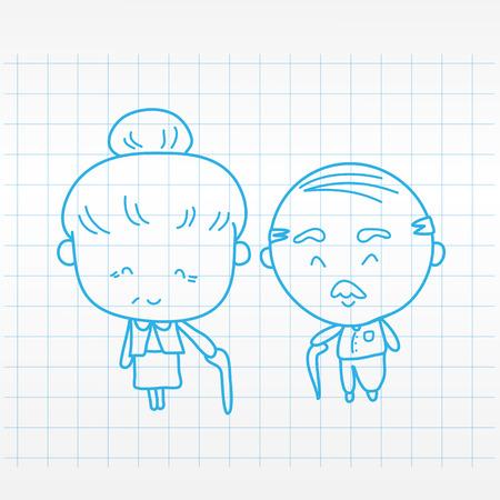 happy older couple: Elderly couple of lover Vector illustration Illustration