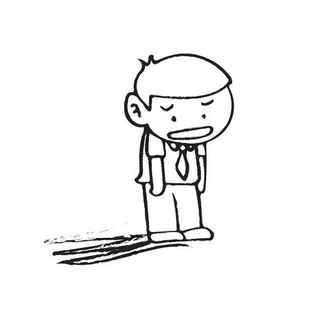 empresario triste: Drenaje de la mano aislado ilustraci�n de negocios triste en el fondo blanco