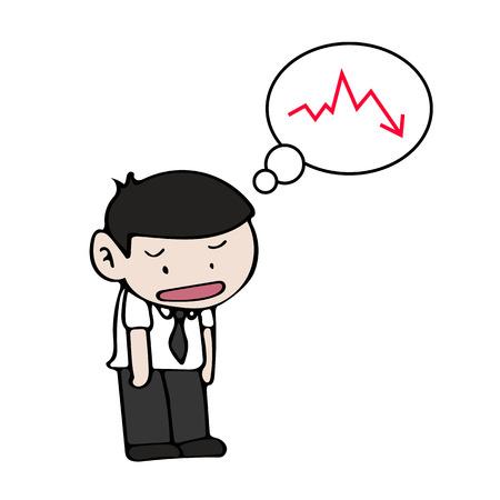 empresario triste: Triste ilustraci�n aislada hombre de negocios en el fondo blanco