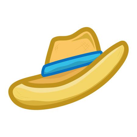 straw hat: straw hat isolated illustration on white background