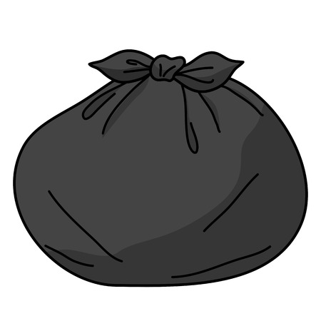 garbage can: trash bags isolated illustration on white background Illustration