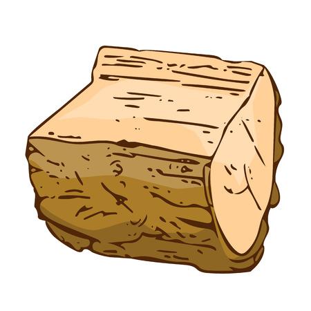 sawed: Wooden Log isolated on white background Illustration