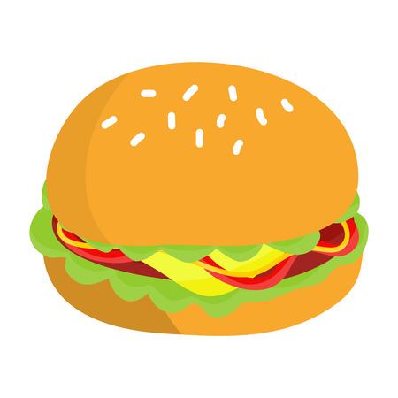 vegetable fat: hamburger isolated illustration on white background