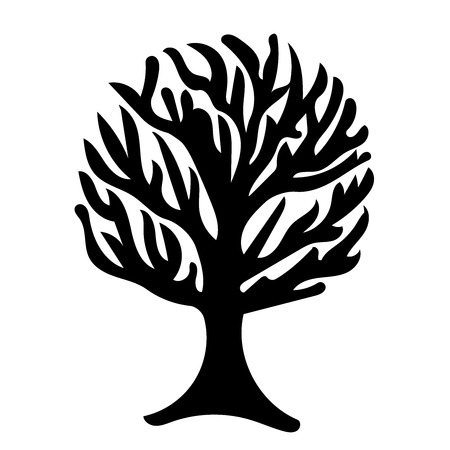 Tree silhouette isolated illustration on white background