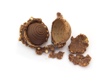 cookie chocolate with a bite and crumb isolated on white background Stock Photo