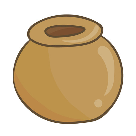 crock: Clay pot isolated illustration on white background