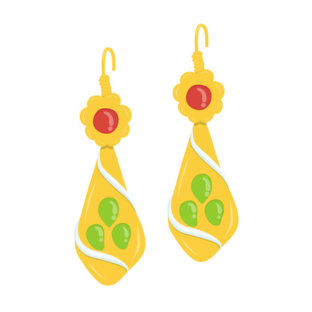 coveted: golden and gemstone earrings isolated illustration on white background