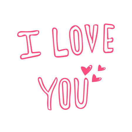 love you: I love you hand lettering Illustration