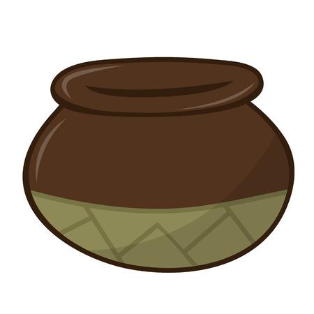 earthenware: Aislado Ilustraci�n olla de barro en el fondo blanco Vectores