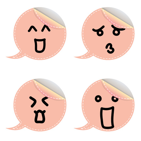 talking cartoon: Speech bubble emoticon on white background Illustration