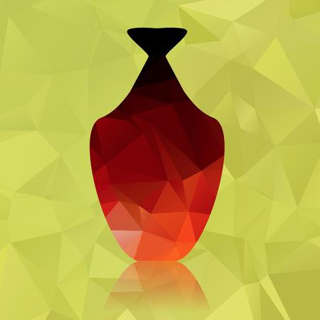 crock: pot with polygonal on green polygonal background