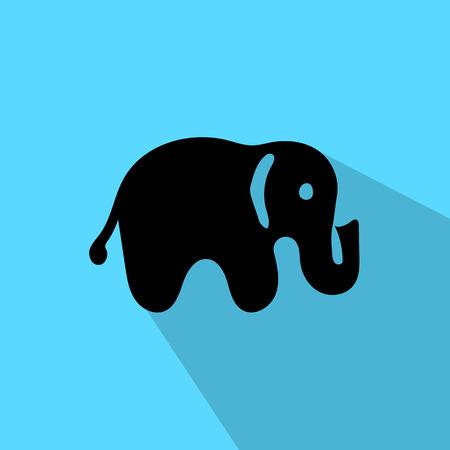 elephant icon on blue background