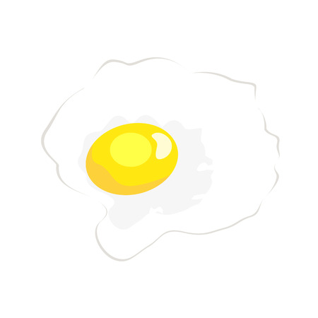 fried: fried egg isolated illustration on white background
