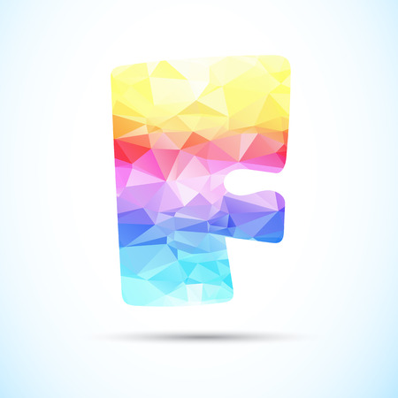 creative arts: abstract polygonal Letter F icon