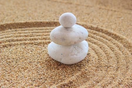 raked: Zen stone on raked sand